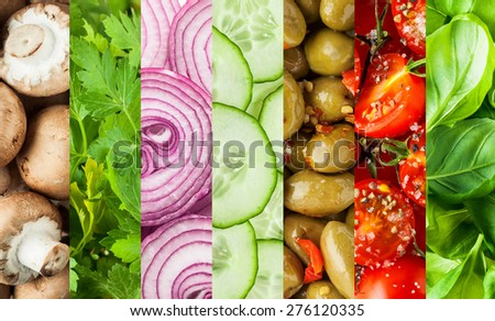 Fresh vegetables in a colorful collage background for food or salad concepts with mushrooms, parsley, onion, cucumber, olives, tomato and basil in vertical bands - stock photo