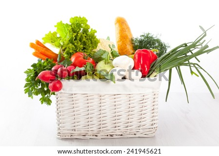 Fresh vegetables in basket - stock photo