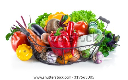 Fresh vegetables in basket. Isolated on white background - stock photo