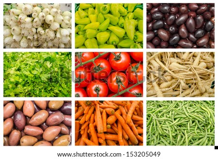 Fresh Vegetables In Market Mix Collage - stock photo