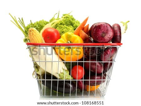 Fresh vegetables in metal  basket isolated on white - stock photo