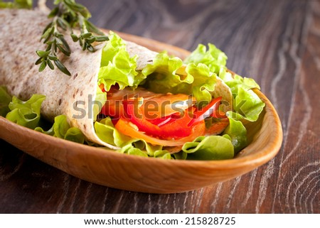 fresh vegetables in pita bread, close up - stock photo