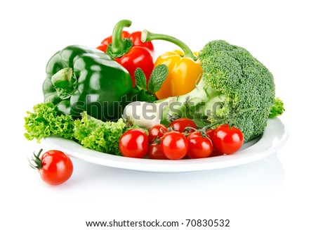 fresh vegetables in plate isolated on white background - stock photo