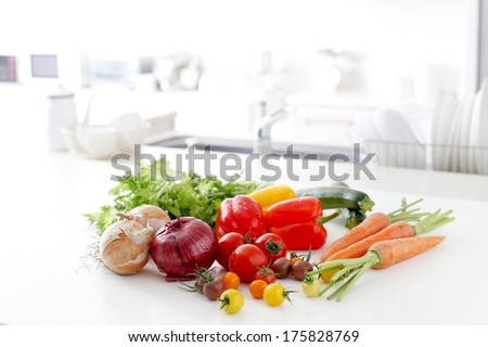 Fresh vegetables in the kitchen - stock photo