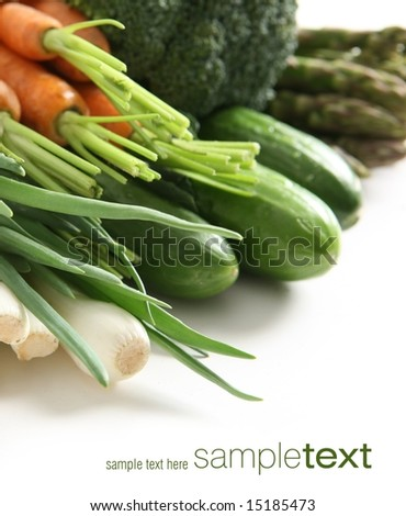 Fresh vegetables in the paper bag (easy to remove the text) - stock photo