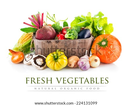 Fresh vegetables in wooden bucket with leaf lettuce. Isolated on white background - stock photo