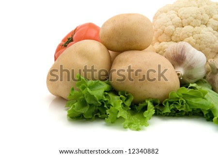 fresh vegetables isolated on the white background