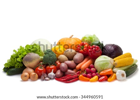 Fresh vegetables, isolated on the white background, clipping path included. - stock photo