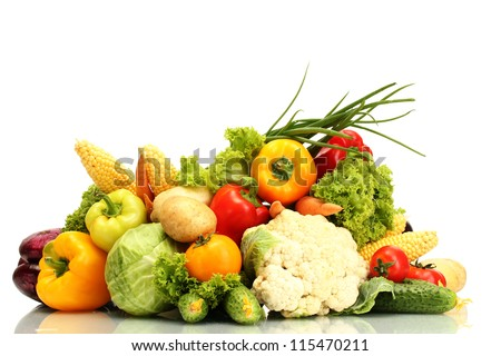 Fresh vegetables isolated on white - stock photo
