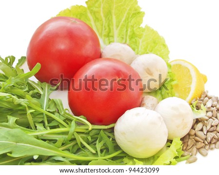 Fresh vegetables isolated on white
