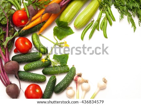 Fresh vegetables. Isolated on white background. - stock photo