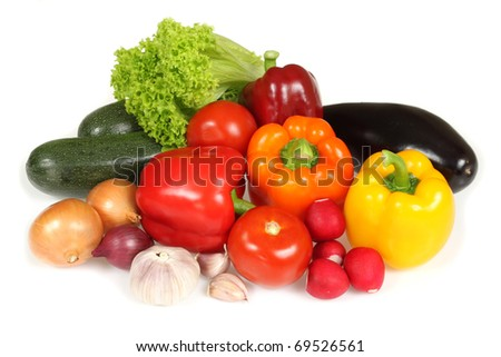 Fresh vegetables isolated on white background - stock photo