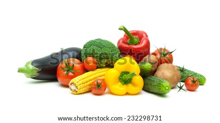 fresh vegetables isolated on white background close up. horizontal photo. - stock photo