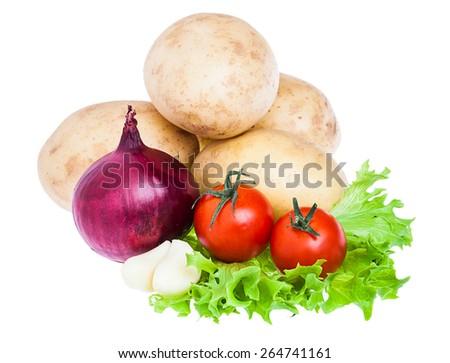 fresh vegetables  isolated on white background. horizontal photo. - stock photo