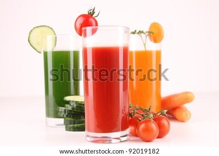 fresh vegetables juice - stock photo