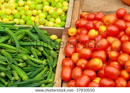 Fresh vegetables kept for sale