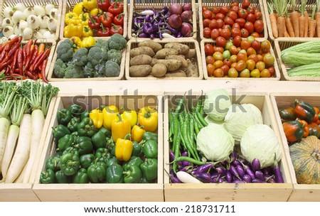 Fresh vegetables market - stock photo