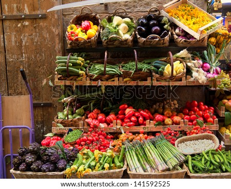 Fresh vegetables market, Florence, Italy - stock photo