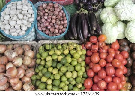 Fresh vegetables market, Luang pra bang, Laos - stock photo