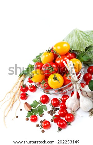 Fresh vegetables on a white background. Healthy food.