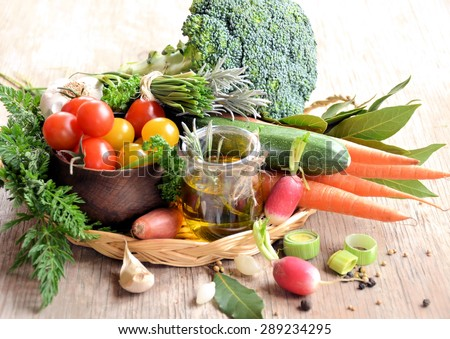 fresh vegetables on a wooden background, organic food, lifestyle - stock photo