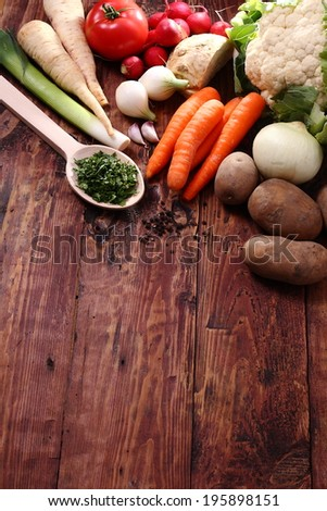 Fresh vegetables on a wooden table