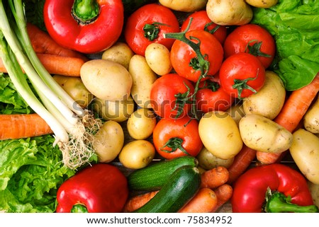 fresh vegetables on table after market - stock photo