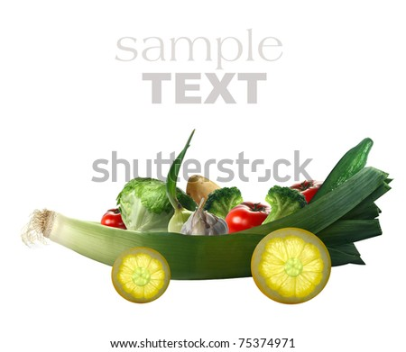 fresh vegetables on the car and white background - stock photo