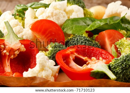 fresh vegetables on the parchment - stock photo