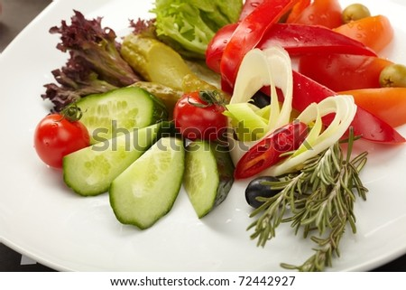 Fresh vegetables on the plate