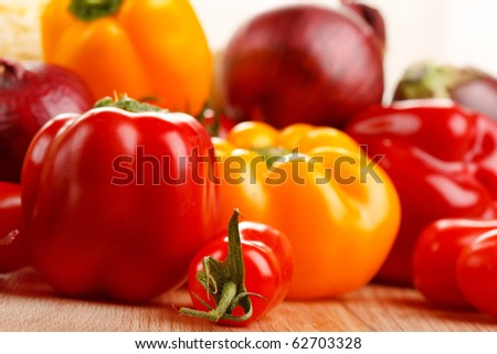 fresh vegetables on the table - stock photo
