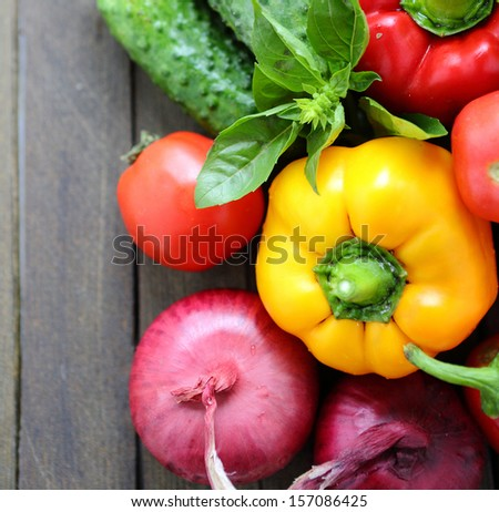 Fresh vegetables on the table, food - stock photo