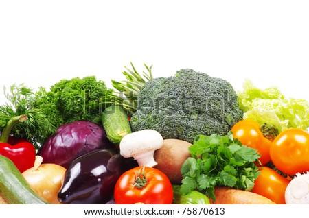 fresh vegetables on the white background - stock photo