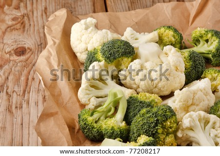 fresh vegetables on the wood background - stock photo