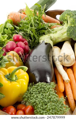 Fresh vegetables on tray - stock photo