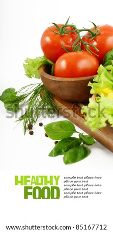 Fresh vegetables on white background - stock photo