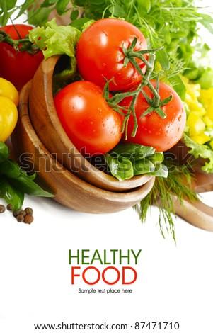 Fresh vegetables on white background - stock photo
