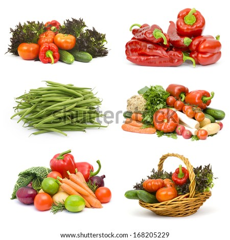fresh vegetables on white background - collage - stock photo