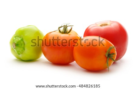Fresh vegetables on white background in closeup