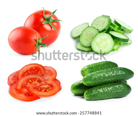 Fresh vegetables on white background. Tomato and cucumber slices