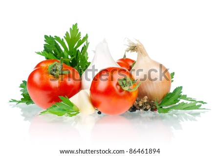 Fresh vegetables on white background - tomato, parsley, garlic, pepper, onion - stock photo