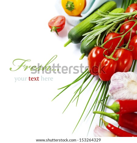 fresh vegetables on white background (with easy removable sample text) - stock photo