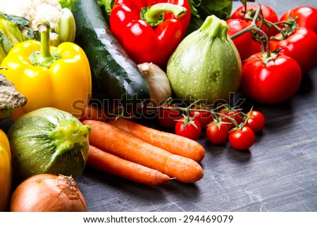 fresh vegetables on wood - stock photo