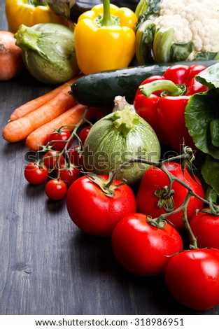 fresh vegetables on wood