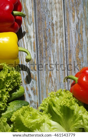Fresh vegetables on wood background