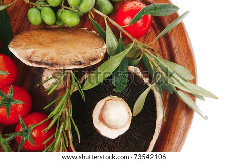 fresh vegetables on wood over white background - stock photo