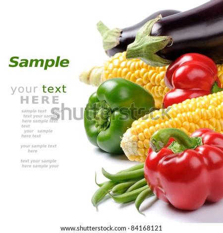 Fresh vegetables over white - stock photo