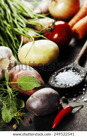 Fresh vegetables (potato, onion, carrot) ready for cooking. Health, vegetarian food or cooking concept. Fresh organic vegetables. Food background. Healthy food from garden - stock photo