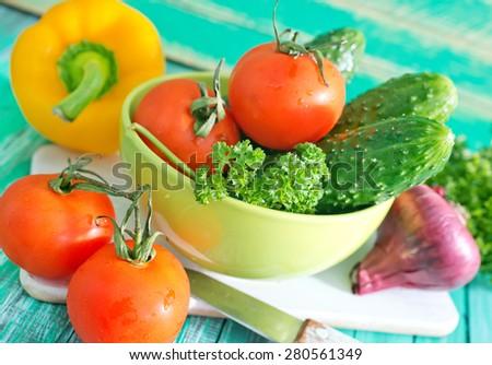 fresh vegetables, raw vegetables for vegetarian salad - stock photo