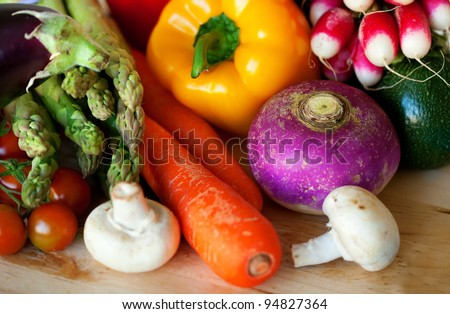 Fresh vegetables ready for cooking - stock photo
